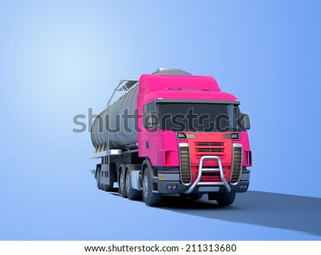 Truck driven by fuel on a blue background. - stock photo