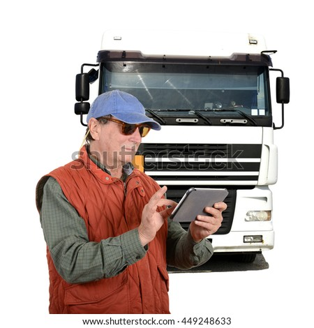 Truck driver with tablet