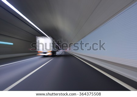 Truck driving in the tunnel