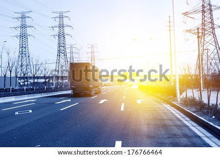 Truck driving on highway - stock photo