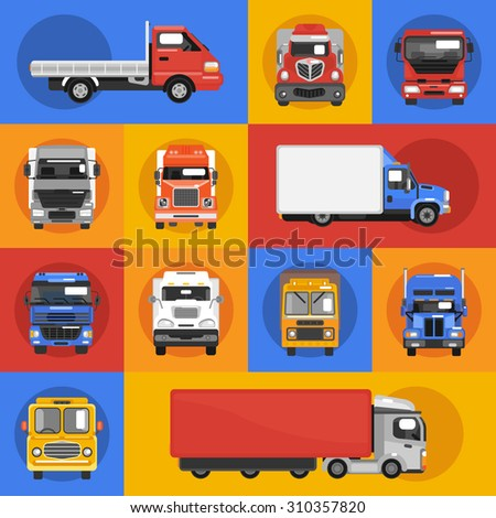 Truck heavy carrier transport delivery van decorative icons flat isolated  illustration - stock photo