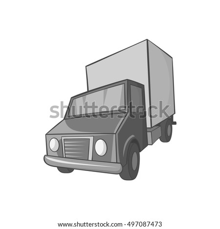 Truck icon in black monochrome style on a white background  illustration