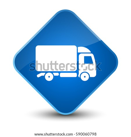 Truck icon isolated on elegant blue diamond button abstract illustration