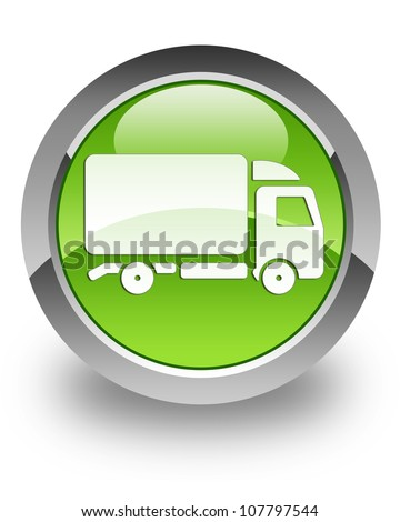 Truck icon on glossy green round button - stock photo
