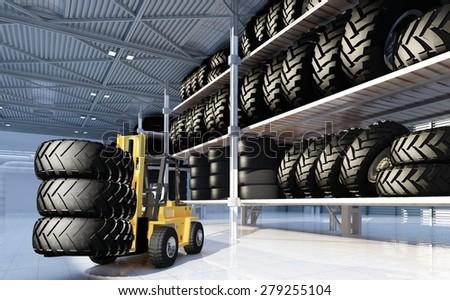 Truck in  hangar with wheels - stock photo
