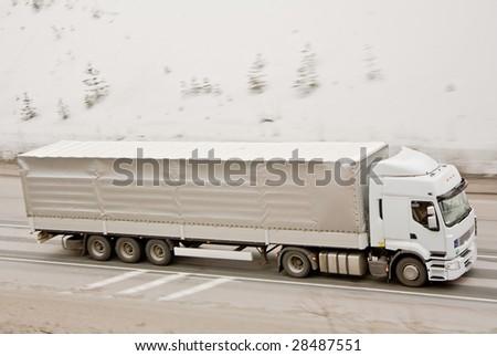 Truck in winter - stock photo
