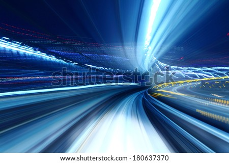 Truck light trail of train - stock photo