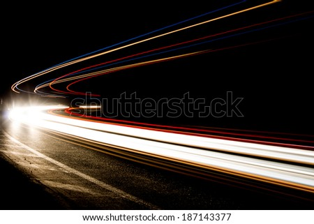 Truck light trails in tunnel. Art image . Long exposure photo taken in a tunnel . image with selecti