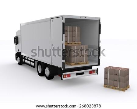 Truck loading - stock photo