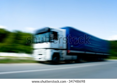 Truck moving with high speed