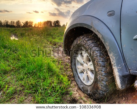 truck on a bad road - stock photo