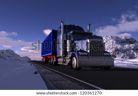 Truck on a road in the mountains. - stock photo