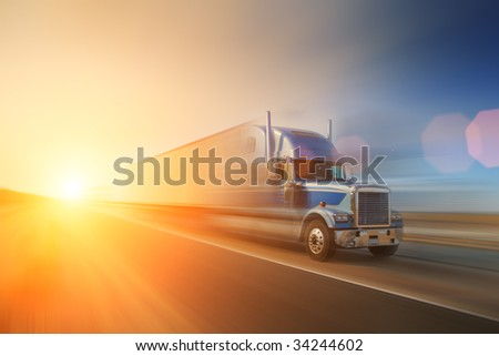 Truck on highway. California, USA - stock photo