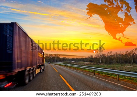 Truck on road and North America map background - shipping travel concept.   - stock photo