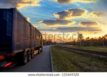 Truck on road - speed and delivery concept. - stock photo