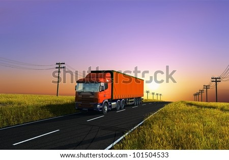 Truck on the background of the landscape.