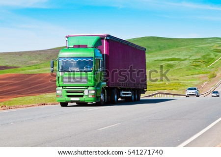 Truck on the road. The site of the federal highway Orenburg - Samara near the village of Sirt. Russia. 05/10/2013