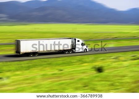Truck on USA interstate - stock photo