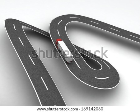 Truck on winding road. Hard work concept - stock photo