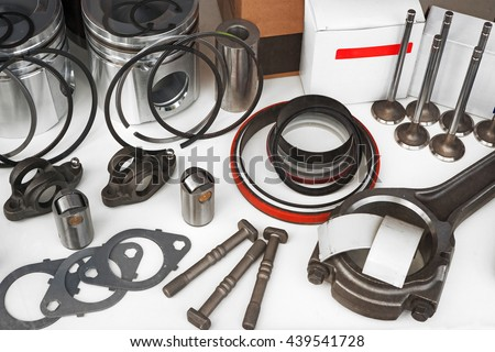 Truck parts on white background - stock photo