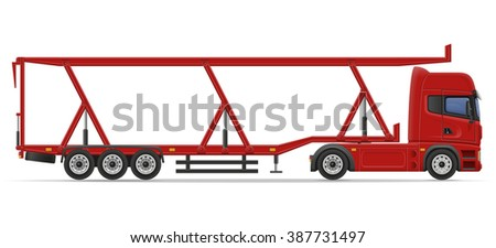 truck semi trailer for transportation of car illustration isolated on white background
