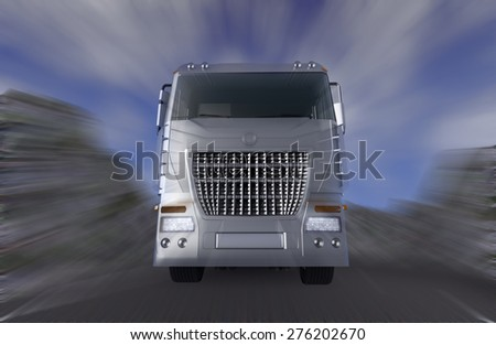 Truck Speeding on the motion blur background - 3D render illustration. - stock photo