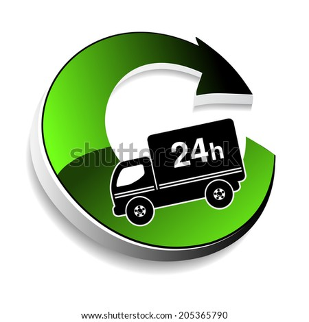 truck symbol - delivery within 24 hours - stock photo