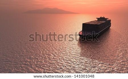 Truck tanker in the sea - stock photo