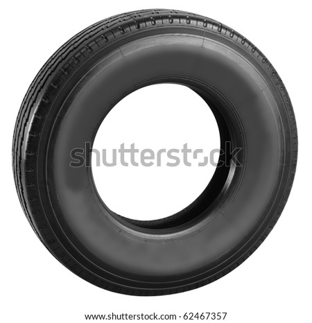 Truck tire. Isolated
