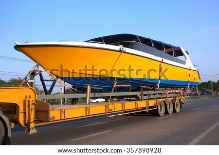 Truck Trailer Hitch speedboat on new ships. Running on the road. ( select focus )  - stock photo