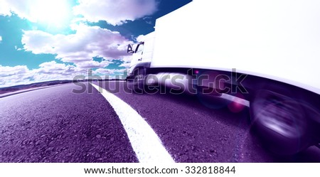 Truck, transport and corporate logistics. Lorry delivering freight by road or highway