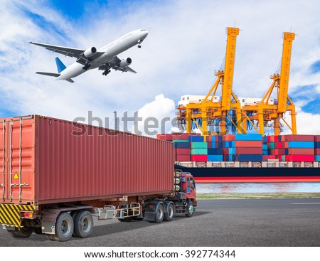 Truck transport container and cargo plane flying above ship port with working crane loading bridge in shipyard for logistic import export concept - stock photo