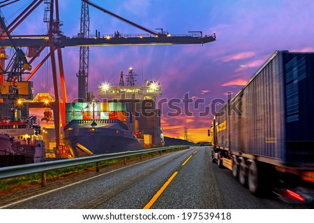 Truck transport container on the road to the port. - stock photo