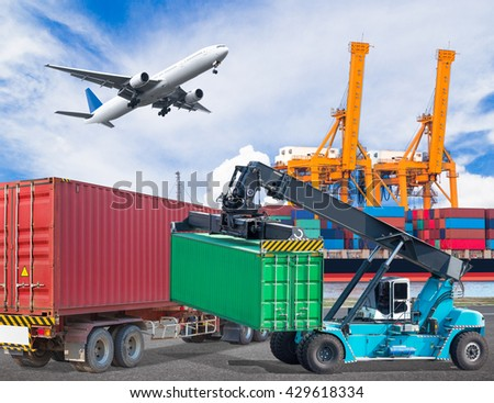 Truck transport container with crane lifting and cargo plane flying above ship port with working crane loading bridge in shipyard for logistic import export concept - stock photo