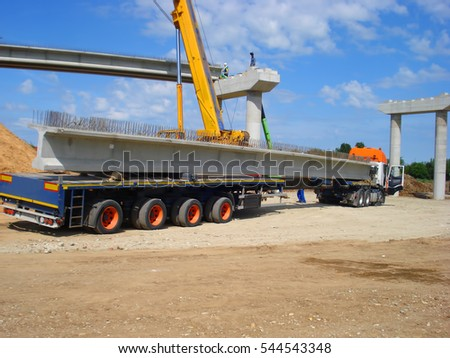 Truck transporting beam concrete for construction of bridge