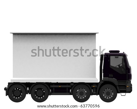 truck with blank billboard isolated on white background