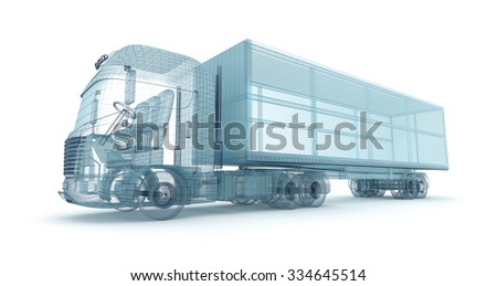 Truck with cargo container, wire model. My own design - stock photo