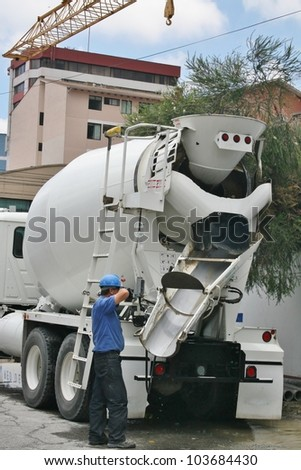 Truck with cement mixer - stock photo