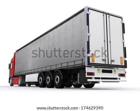 Truck with curtainside trailer - stock photo