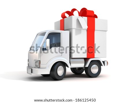 truck with gift box 3d illustration - stock photo