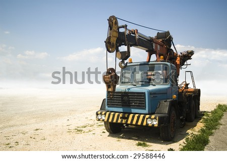 Truck with lift in a desert like environment