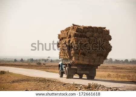 truck with straw - stock photo