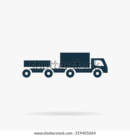 Truck with trailer. Flat web icon or sign on grey background with shadow. Collection modern trend concept design style illustration symbol - stock photo