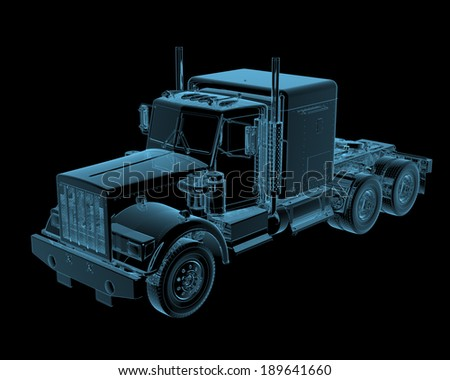 Truck x-ray blue transparent isolated on black - stock photo