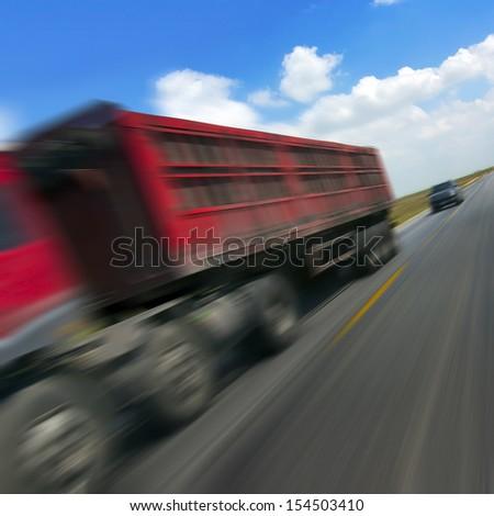 Trucks in road transport - stock photo