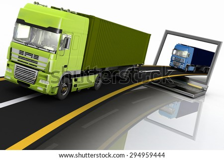 Trucks on freeway coming out of a laptop. 3d render illustration. Concept of logistics, delivery and transporting by freight motor transport. - stock photo