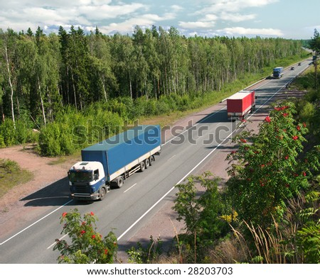 trucks on summer country highway