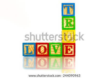 true love word reflection on white background