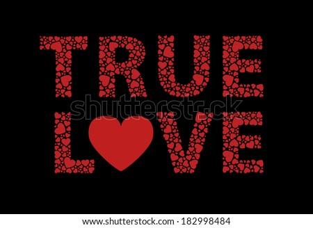True love written in hearts - stock photo