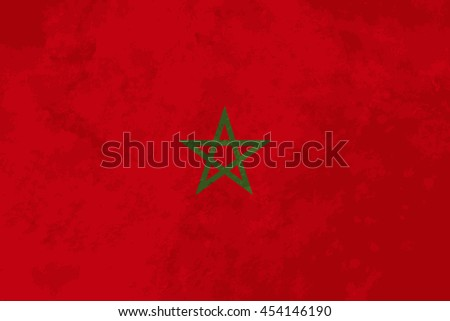 True proportions Morocco flag with grunge texture - stock photo